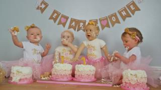 Lily and Lyla Mason celebrating their first birthday