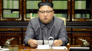 North Korea's leader Kim Jong Un makes a statement regarding U.S. President Donald Trump's speech at the U.N. general assembly, in this undated photo released by North Korea's Korean Central News Agency (KCNA) in Pyongyang 22 September 2017.