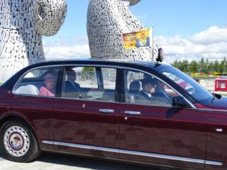 The Queen and the Duke of Edinburgh at the Kelpies