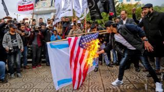 Gazze'de ABD ve İsrail karşıtı gösteriler.