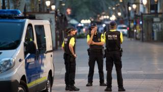 Barcelona police on duty in Las Ramblas, 18 Aug 17