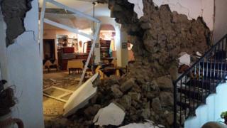 Damage to Vinetum Hotel in Casamicciola, on 22 August 2017