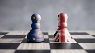 Brexit pawns on chessboard