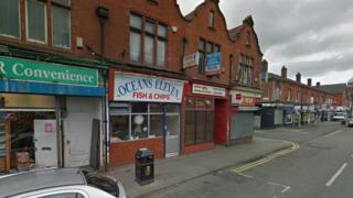 Oceans Eleven chip shop on Railway Road in Leigh