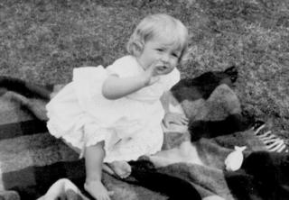 Diana at Park House, Sandringham, on her first birthday.