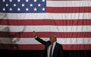 US Republican presidential candidate Donald Trump at a campaign rally in Las Vegas