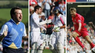 Graeme McDowell wins the 2010 Ryder Cup for Europe, Monty Panesar and Jimmy Anderson celebrate earning England an Ashes draw in Cardiff and Steven Gerrard scores for Liverpool