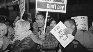 Protestors at a demonstration against the Poll Tax
