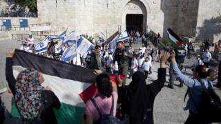 """Israelis and Palestinians mark """"Jerusalem Day"""" outside Jerusalem's Old City (file photo)"""