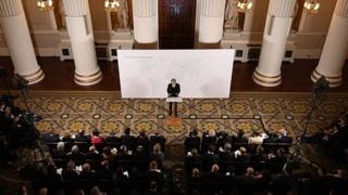 Aerial view of Theresa May speaking in London