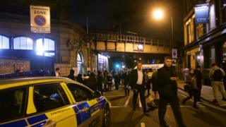 Police at the scene outside Parsons Green Tube station in London where three men have been stabbed