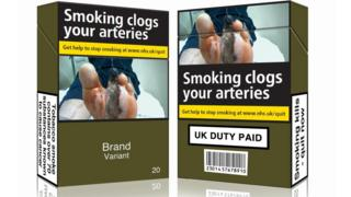 Mocked up cigarette packs, from ASH, Action on Smoking and Health