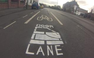 "Cycle lane marked with ""door lane"" on Haydn Road in Sherwood, Nottingham"