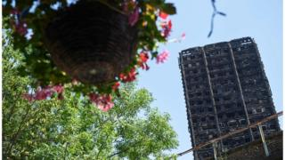 Grenfell Tower and a hanging basket