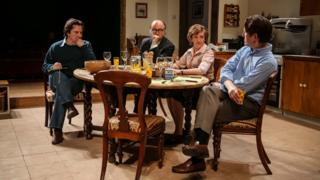 Paul Chahidi (as Bill Rodgers), Roger Allam (as Roy Jenkins), Debra Gillett (as Shirley Williams) and Tom Goodman-Hill (as David Owen) in Limehouse