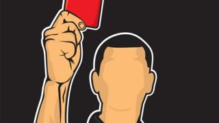 Ilustración de un árbitro mostrando una tarjeta roja