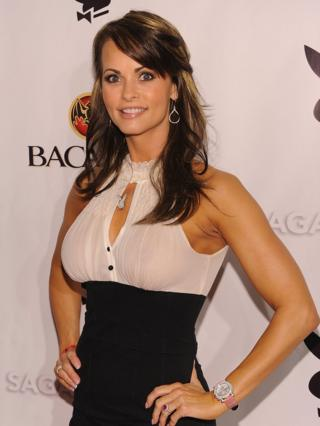 Karen McDougal attends a Playboy party in Miami Beach, Florida on 6 February 2010