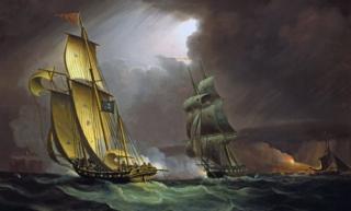 Britaniya dənizçiləri qaçaqmalçıları təqib edirlər. 18-ci əsrdə Britaniyanın demək olar bütün sahilboyu qəsəbələri bu və ya digər dərəcədə qaçaqmalın hesabına dolanırdılar