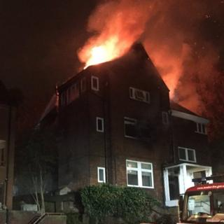 Fire at the block of flats