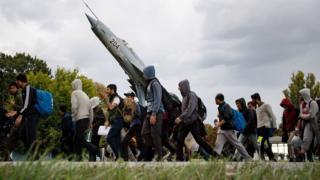 Мигранты у границы с Венгрией