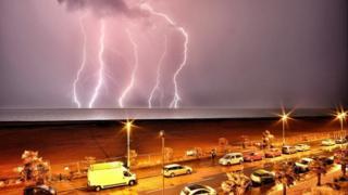 A lightning strike in Folkestone