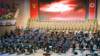 북한의 핵실험 이후 평양에서 열린 기념 공연