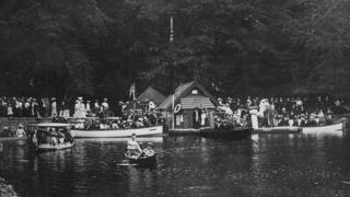 Boat stage, Rudyard Lake, 1912