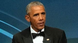 Barack Obama speaking at the event