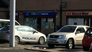 Police car near scene of alleged hit and run
