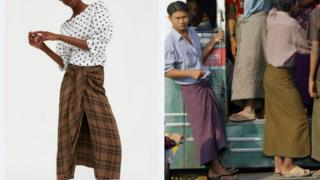 Model wearing Zara lungi and Burmese men wearing lungis