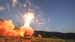 This handout photo taken on 4 September 2017 and provided by South Korean Defence Ministry in Seoul shows South Korea's missile system firing Hyunmu-2 missile into the East Sea from an undisclosed location on South Korea's east coast during a live-fire exercise simulating an attack on North Korea's nuclear site.