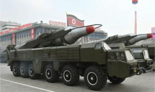 "A file photo dated October 2010 and made available by the North Korean Central News Agency (KCNA) shows a ""Musudan"" missile displayed during a military parade marking the 65th anniversary of the foundation of the Workers"" Party of Korea, in Pyongyang, North Korea."