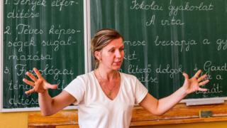 Hungarian language teacher in Uzhhorod, western Ukraine, 11 Sep 17