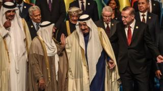 Soldan sağa ön sıra: Katar Emiri Şeyh Temim bin Hamad es-Sani, Kuveyt Emiri Şeyh Sabah el Ahmet el Cabir el Sabah, Suudi Arabistan Kralı Salman bin Abdülaziz el Suud ve Cumhurbaşkanı Recep Tayyip Erdoğan