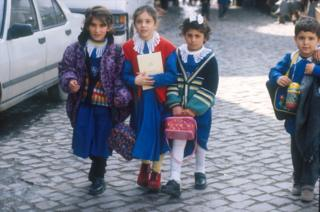 file pic (2000) of Turkish children on their way to school