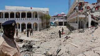 Damage outside the the Somali Youth League (SYL) Hotel in Mogadishu, Somalia