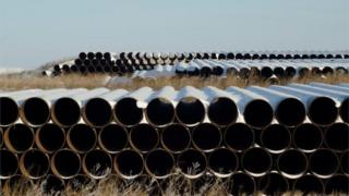 -A depot used to store pipes for the Keystone XL oil pipeline.