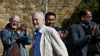 Jeremy Corbyn applauded by Labour activists at a poster launch in London