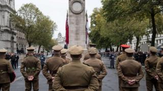 The Western Front Association's annual service of remembrance on Armistice Day at the Cenotaph