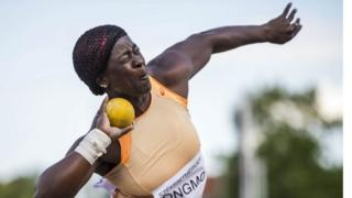 """Dongmo Auriole of Cameroon is on her way to place third in the women""""s shot put final at the Gyulai Istvan Memorial Track and Field Grand Prix in Szekesfehervar, Hungary 04 July 2017."""