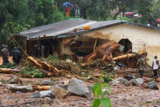 Flood damaged house in Freetown, Sierra Leone