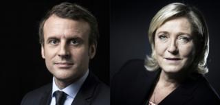 Через два тижні Еммануель Макрон (ліворуч) і Марін Ле Пен (праворуч) зустрінуться у другому турі президентських виборів у Франції