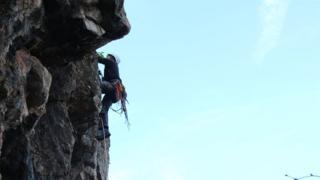 Climber on Symonds Yat
