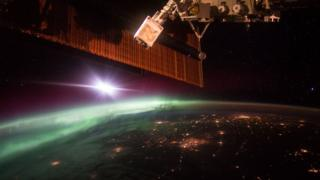 An early morning aurora, as photographed by Astronaut Scott Kelly from the International Space Station