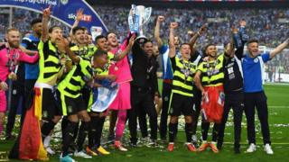 Huddersfield Town celebrate their win