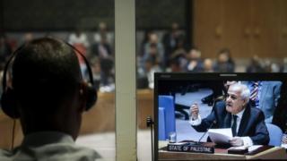 Palestinian envoy Riyad Mansour speaks at the UN