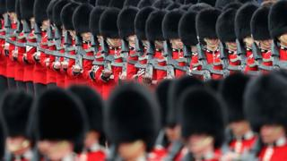 Troops march during the Colonel's Review