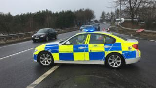 Police near scene of accident on the M9