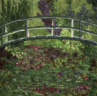 Photograph by Tessa Traeger of vegetables that have been arranged to recreate a painting by Monet of a bridge over a lily pond (Hommage to Monet, 1989).