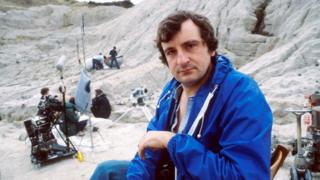 Douglas Adams on the set of his sci-fi comedy series